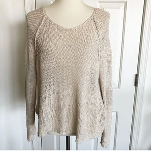 Free People Linen boho cream sweater